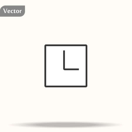 Vector illustration office square clock. Black and white wall clock isolated on white.