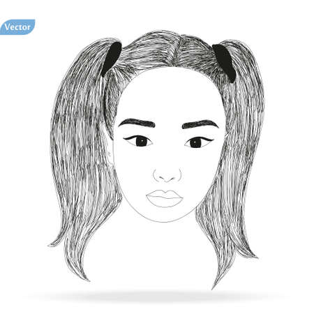 Vector Hand drawn pencil sketch with face of a girl. Female portrait.