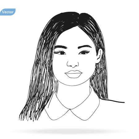 Vector Hand drawn pencil sketch with face of a girl. Female portrait. eps10 Ilustração
