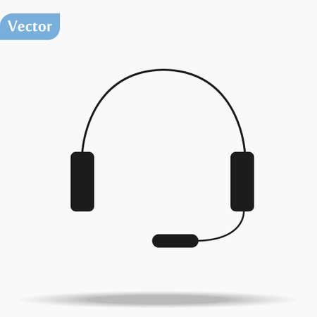 Headphone Isolated Flat Web Mobile Icon Vector Sign Symbol Button Element Silhouette eps10 Ilustração