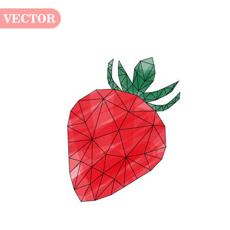Vector illustration of strawberry in low poly style on white background. Isolated picture of red berry eps10