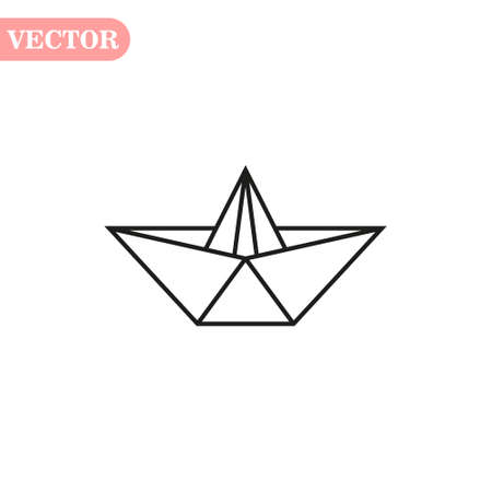 Vector Paper Ship isolated on white background. eps10