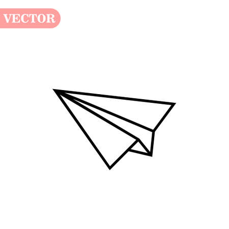 black linear paper plane icon on a white background. eps10 Çizim