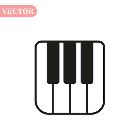 Piano keyboard icon, isolated on white background, vector illustration. eps10 Çizim