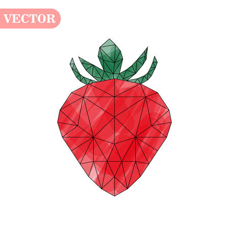 Vector illustration of strawberry in low poly style on white background. Isolated picture of red berry eps 10 Çizim