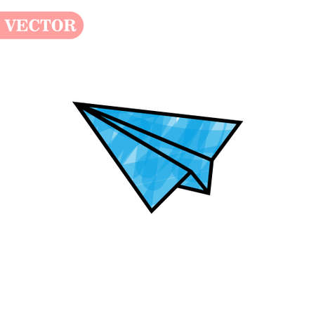 Blue and black linear paper plane icon on a white background. eps 10