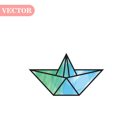 Vector blue Paper Ship isolated on white background. eps 10