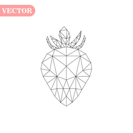 Strawberry polygonal vector, Logo polygons strawberry, Vector illustration eps10 Çizim