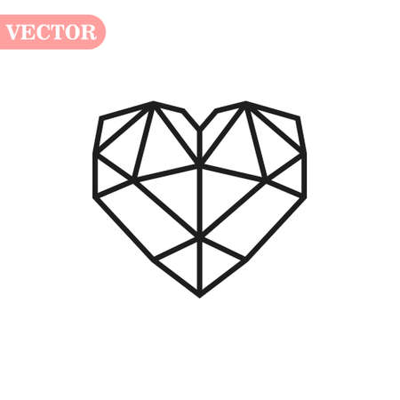 Black geometric style heart vector. heart in polygonal style design. Valentines Day illustration