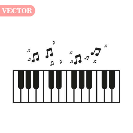 Piano day, keyboard and keys. Musical symbol icon for staff and music note transparent background wave banner. Disco love heart sound notes. eps10