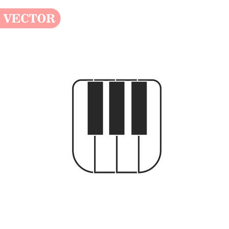 Piano keyboard icon, isolated on white background, vector illustration.