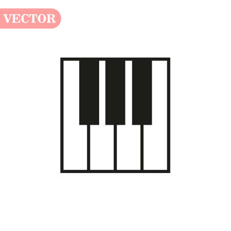 Piano keys isolated on white background. Vector art. Çizim