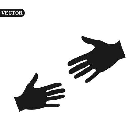 Vector isolated modern plain logo. Unusual graphic design element emblem. Minimalist styled new hands template web. Ilustração