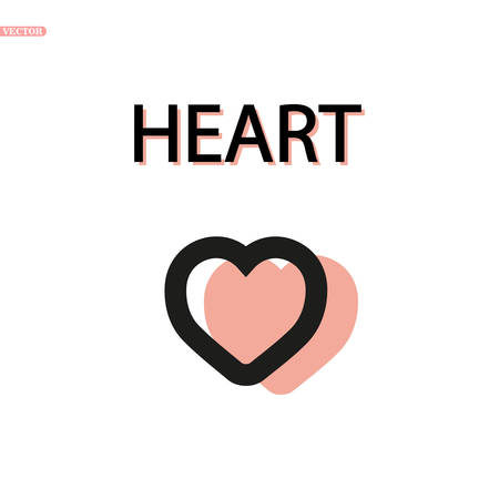 Heart Icon Vector. Perfect Love symbol. Valentine s Day sign, emblem isolated on white background with shadow, Flat style for graphic and web design, logo. EPS 10 Ilustração