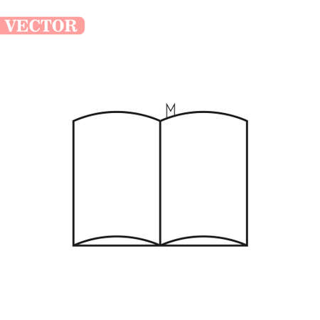 Opened book icon in outline style isolated on white background. Books symbol stock vector illustration.