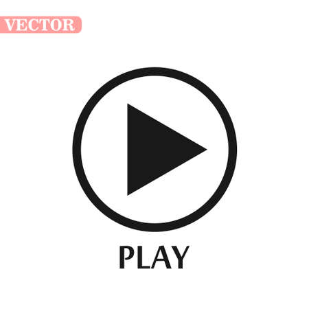 Black and white play icon. Vector illustration.