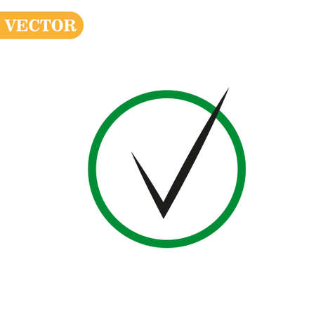 Black check mark icon in a Green circle. Tick symbol in green color  illustration. Ilustração