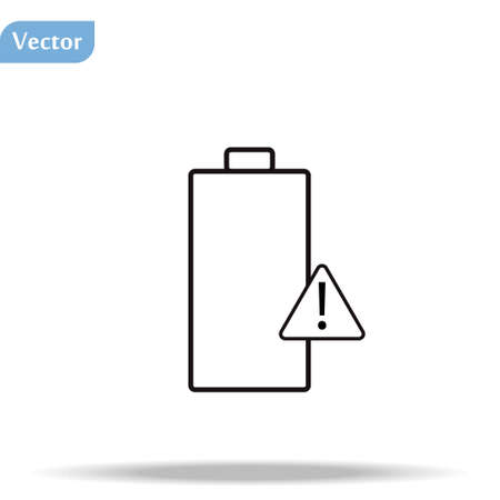 Battery icon or logo in modern line style. High quality gray outline pictogram for web site design and mobile apps. Vector illustration on a white background.