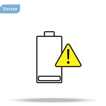 Battery charging flat icon. Battery level indicator. Status. Battery icon. Low battery warning.