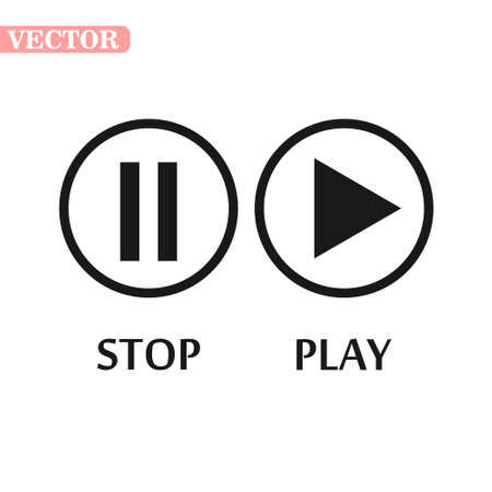 play pause stop button icon, basic shape, black and white, musical geometric silhouette vector. eps 10