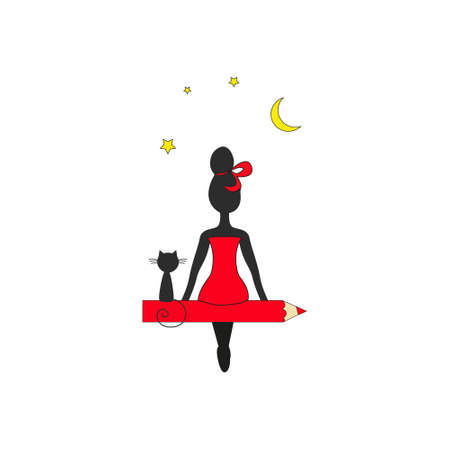 Girl and cat on the pen look at the moon and stars. Hand drawing isolated objects on white background. Vector illustration.