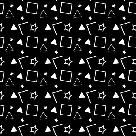 Vector seamless pattern in 90s style. Geometric shapes of triangle, polygon, circle, square and zigzag isolated on black background.
