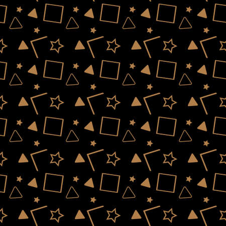 Vector seamless pattern in 90s style. Geometric shapes of triangle, polygon, circle, square and zigzag isolated on black background. eps10