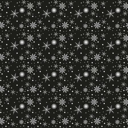 Seamless pattern of snowflakes on a black background Ilustração