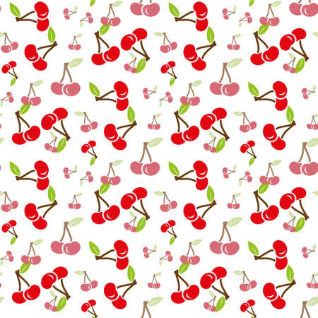 Cute cherry seamless pattern. Good for textile, wrapping, wallpapers, etc. Sweet red ripe cherries isolated on white background. Vector illustration.