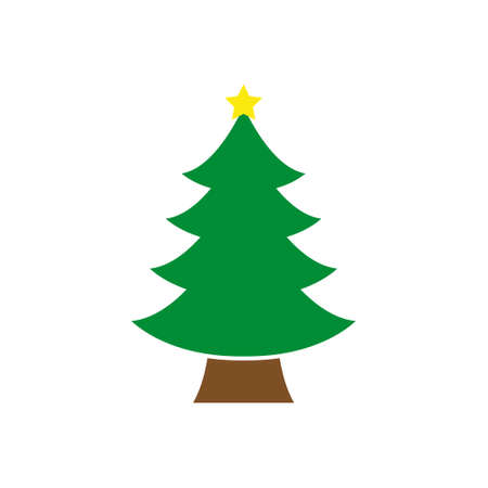 Decorated Christmas Tree, Holiday Light Tree, Ornaments, Icon Vector Illustration Background