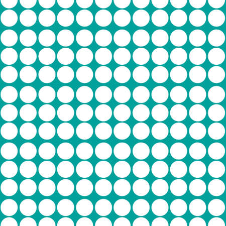Polka dots pattern vector. White on green.