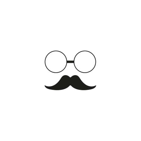 Mustache and glasses. icon man isolated on white background. Gentleman icon. Vector illustration