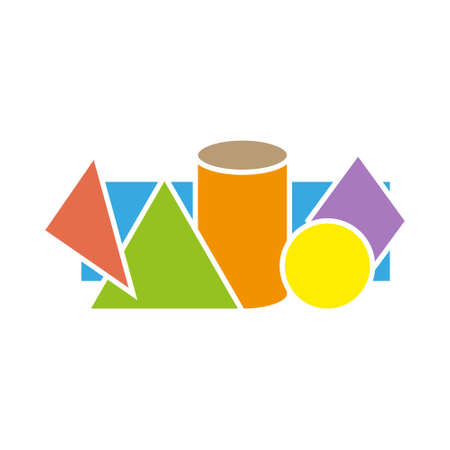 Geometric figures on White Background Include of Cube, Cylinder, Sphere and Cone. Vector illustration Ilustração