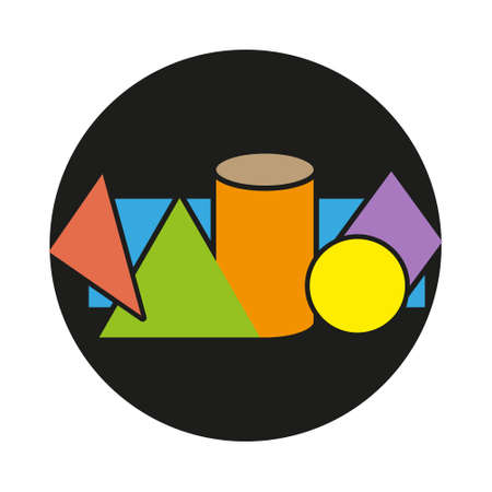 Geometric figures on black Background Include of Cube, Cylinder, Sphere and Cone. Vector illustration eps10