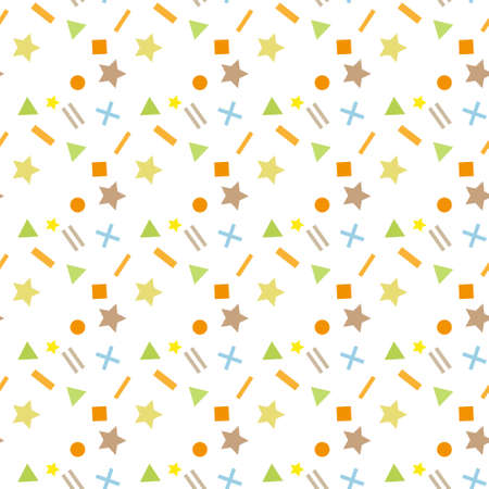 Abstract random colorful geometric figures seamless pattern. Transparent background layer. eps10