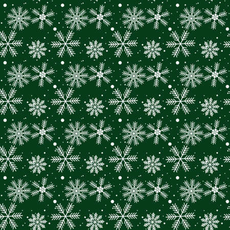 Snowflake simple seamless pattern. white snow on green background. Abstract wallpaper, wrapping decoration. Symbol of winter, Merry Christmas holiday, Happy New Year celebration Vector illustration eps 10 Ilustração