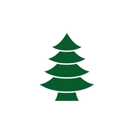Green tree black icon, flat design style. Spruce vector silhouette decaration.