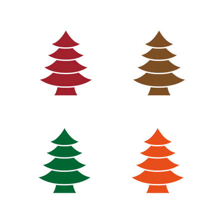 Simple Christmas Tree Seamless Vector Patterns. White Tree Isolated on a Dark Green and Red Background. Lovely Winter Holidays Print. Ilustração