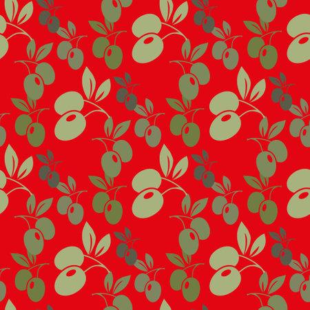 Watercolor branches of olives seamless pattern. Vector illustration. Ilustração