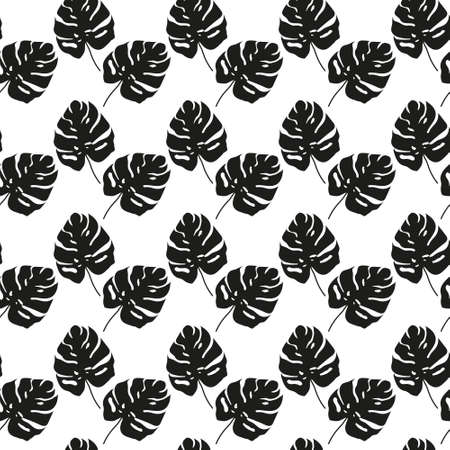 Black and White Monstera tropical leaf Pattern. Vector