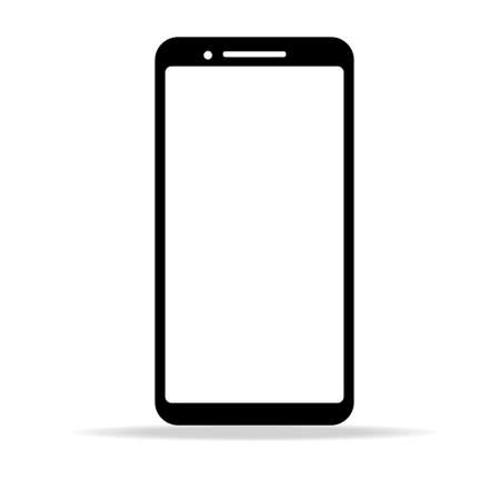 white blank screen display smartphone with front camera isolated on white background. vector illustration Ilustração