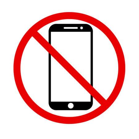 No cell phone, Mobile Phone prohibited, phone logo vector illustration Ilustração