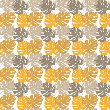 Vector seamless tropical leaves pattern on white. Ilustração
