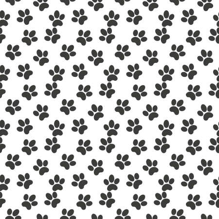Vector seamless pattern of flat black animal dog cat foot print steps isolated on white background