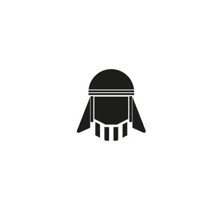 Bearded arabic man in traditional muslim hat. Avatar. Vector Icon