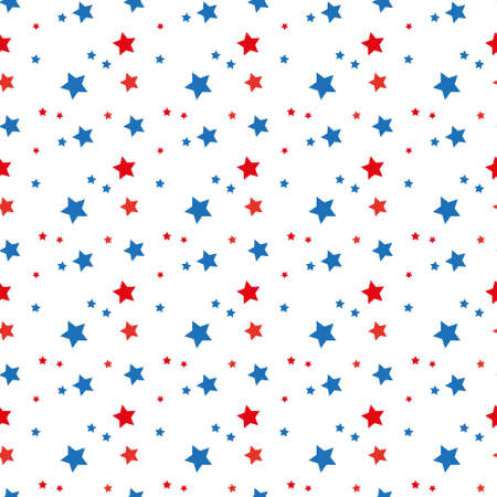 American patriotic stars seamless pattern in bright red, blue and white. Independence day vector background. eps 10 Çizim