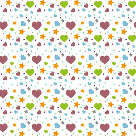 Seamless pattern with heart , dot and star. Vector repeating texture.