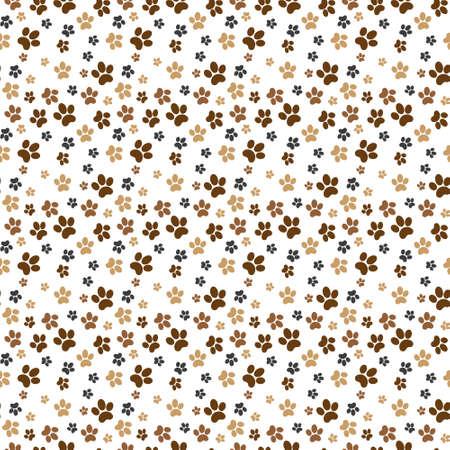Seamless pet paw pattern background. Dog or cat paw wallpaper illustration footprint. Çizim
