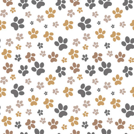 Paws brown seamless gray background, paw pattern, brown vector illustration