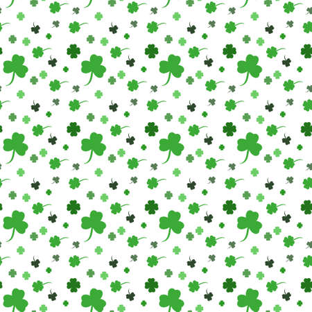Vector St. Patricks day seamless pattern with green shamrock leaves on a white background.